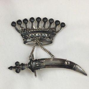 Vintage Jewelry - Vintage Sterling Silver Crown & Scabbard Brooch